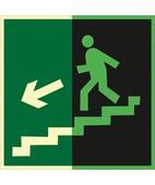 Направление к эвакуационному выходу по лестнице вниз (левосторонний) (Фотолюминесцентный Пленка 200 x 200)