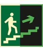 Направление к эвакуационному выходу по лестнице вверх (правосторонний) (Фотолюминесцентный Пленка 200 x 200)