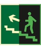 Направление к эвакуационному выходу по лестнице вверх (левосторонний) (Фотолюминесцентный Пленка 200 x 200)